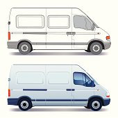 Delivery van designs with blue Windows