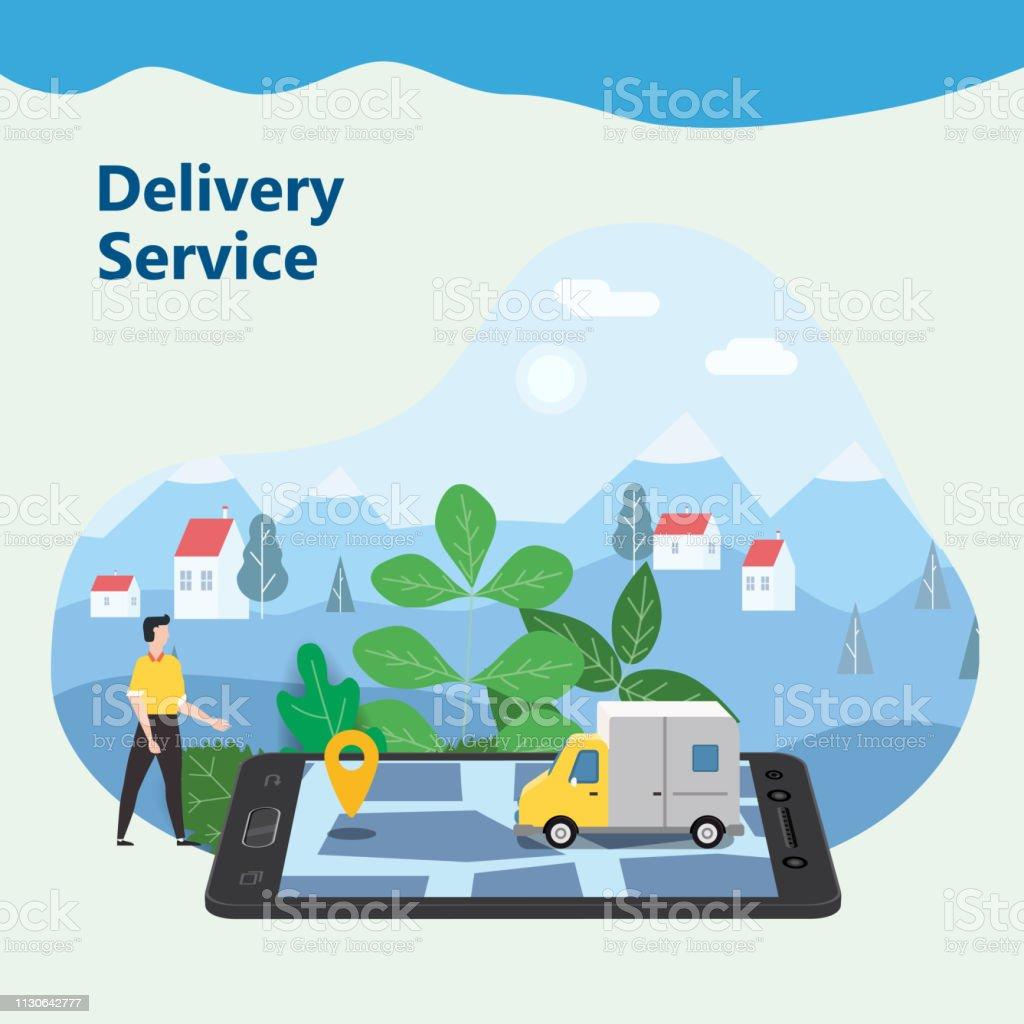b1f134c3b0fa01 Lieferung Van Express Konzept. Überprüfen die Lieferung Service-app am  Handy-Online-