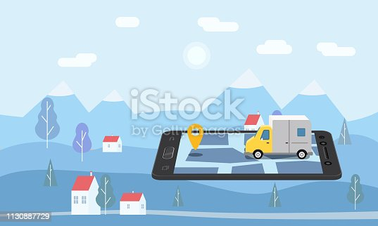 Delivery Van Express concept. Checking delivery service app on mobile phone online tracking