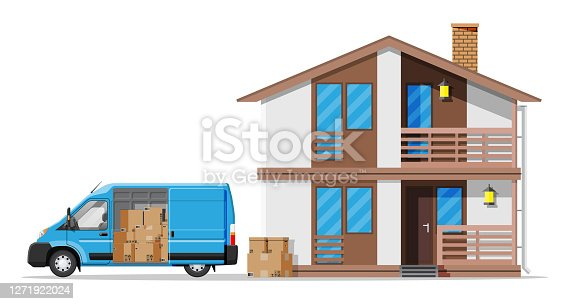 Delivery van full of cardboard boxes and wooden house isolated on white. Relocation delivery service in city. Parcel paper cardboard box with goods. Cargo and logistic. Flat vector illustration