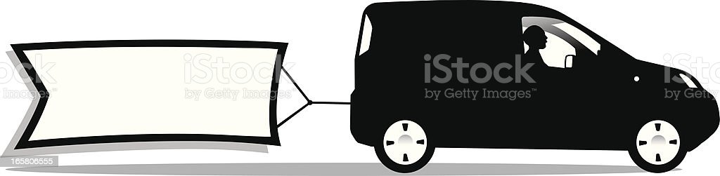 delivery van silhouette with banner vector art illustration
