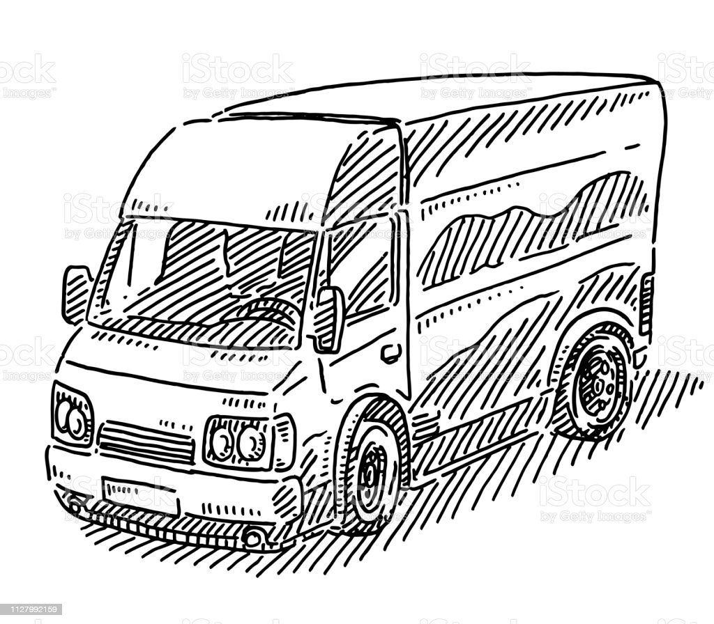 Delivery Van Transportation Drawing Stock Illustration Download