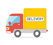 Delivery van truck flat isolated