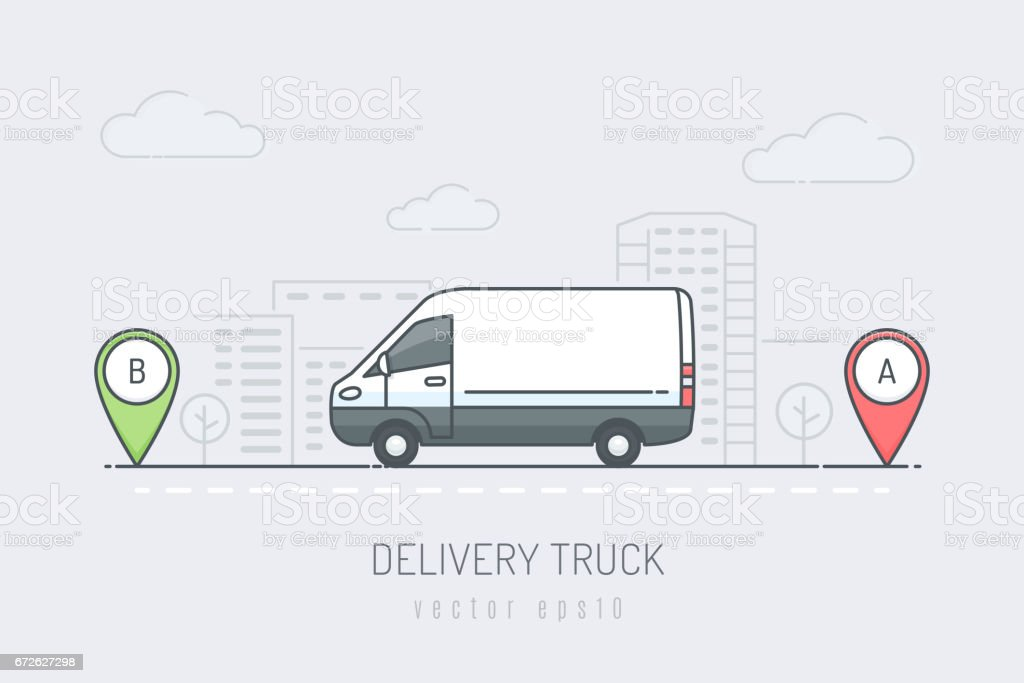 Delivery Van vector art illustration