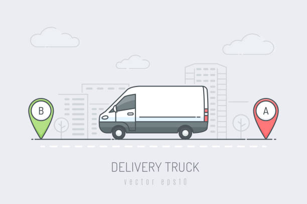 Delivery Van White delivery van vehicle traveling route with red and green location marker in the city . Vector illustration in line art drawing style van vehicle stock illustrations