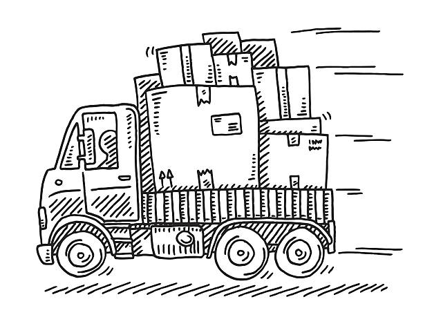 delivery van with many parcels drawing - 新居点のイラスト素材/クリップアート素材/マンガ素材/アイコン素材
