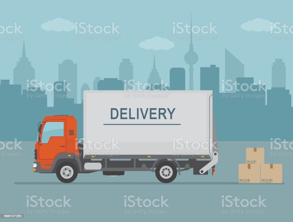 Delivery van with shadow and cardboard boxes on city background. vector art illustration