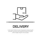 Delivery Vector Line Icon - Simple Thin Line Icon, Premium Quality Design Element