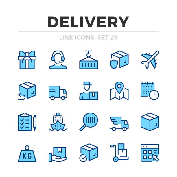 illustrazioni stock, clip art, cartoni animati e icone di tendenza di delivery vector line icons set. shipment, shipping, logistics. thin line design. outline graphic elements, simple stroke symbols. delivery icons - logistica