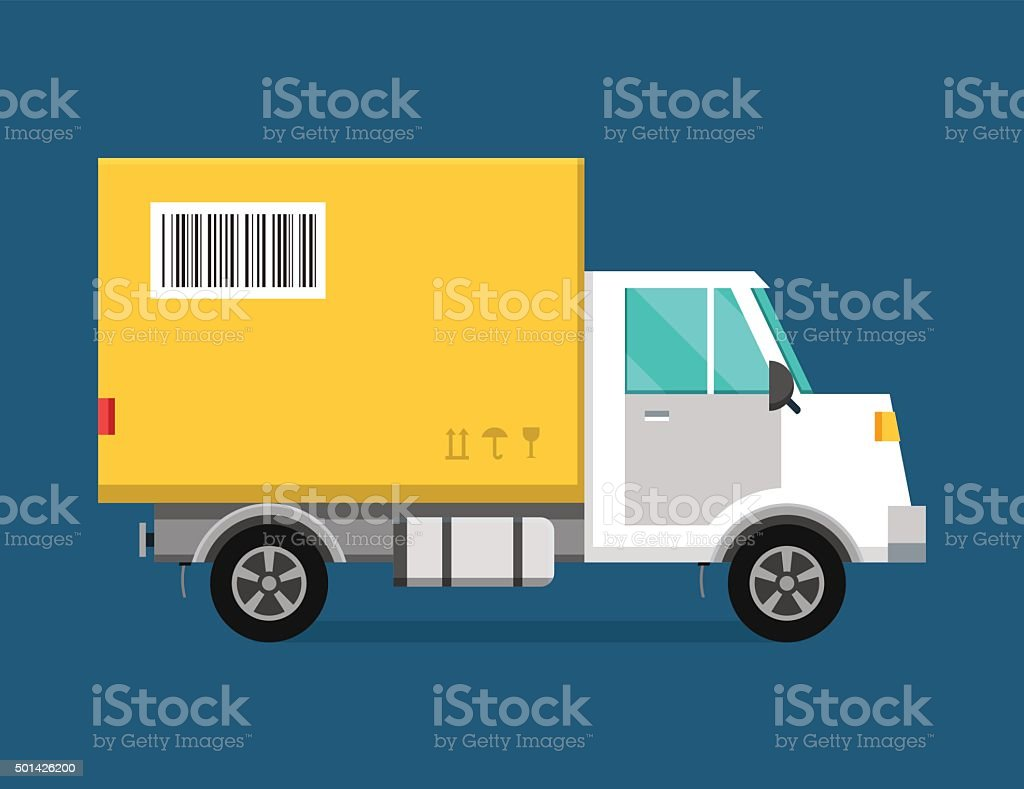 Delivery vector transport truck van and gift box pack vector art illustration