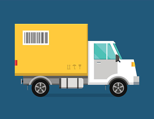 delivery vector transport truck van and gift box pack - delivery van stock illustrations, clip art, cartoons, & icons