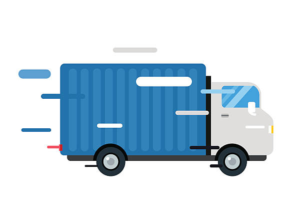 delivery vector truck. service van silhouette - delivery van stock illustrations, clip art, cartoons, & icons
