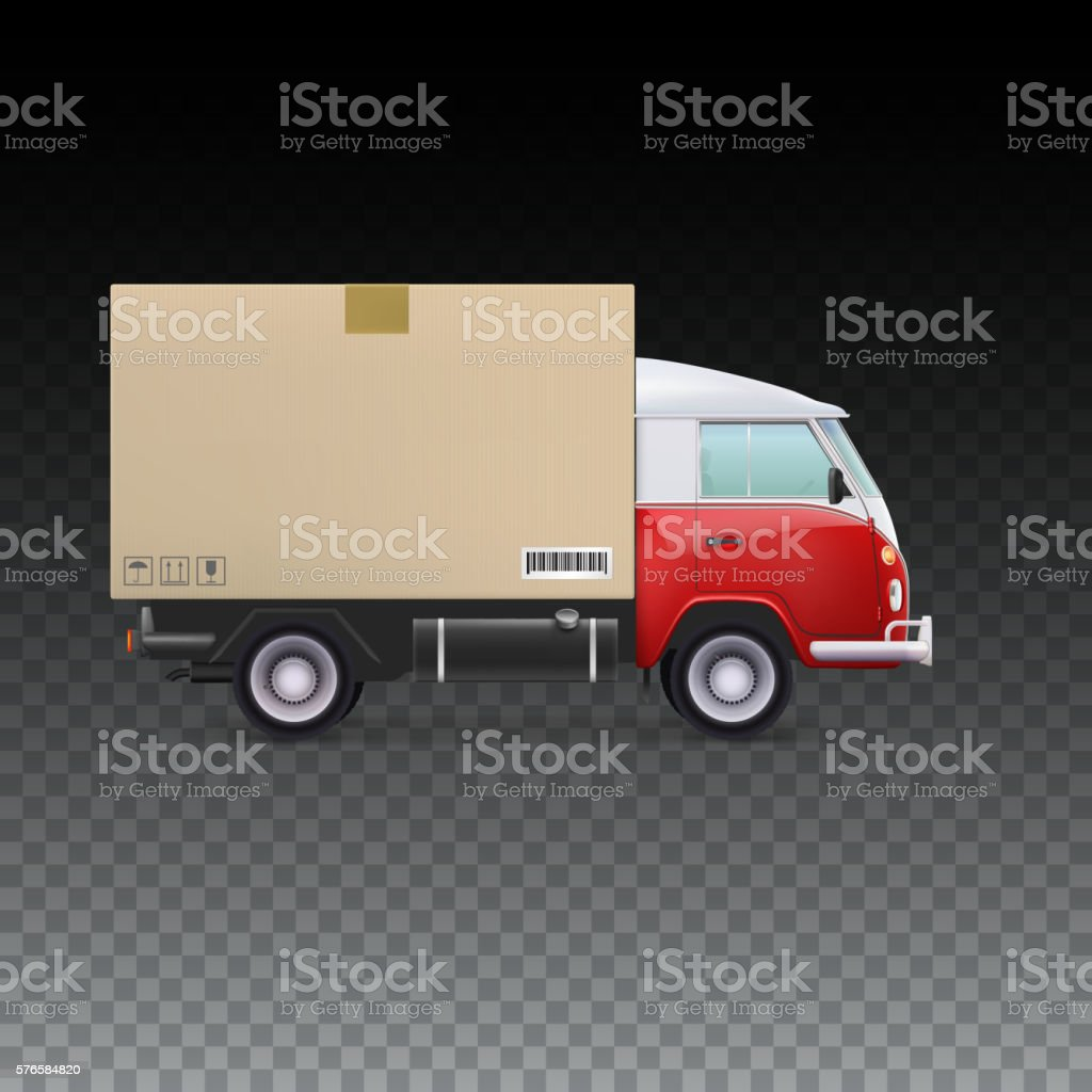 Delivery vehicle truck vector art illustration