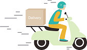 delivery with motorcycle, vector