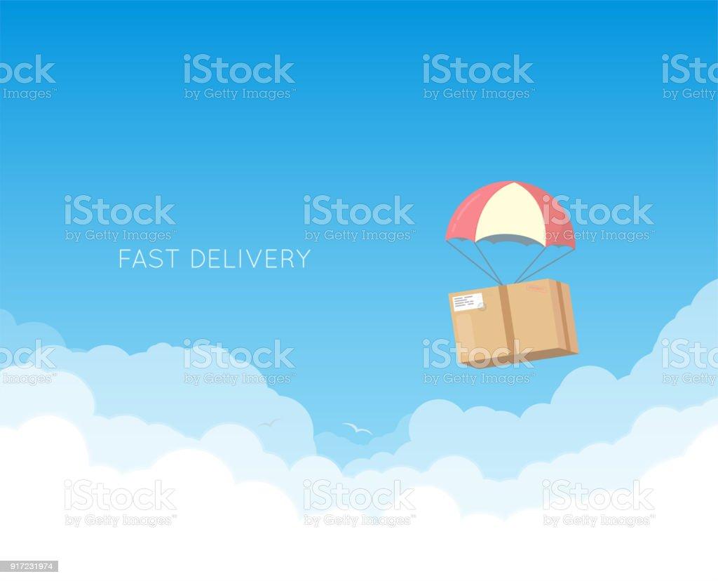 Livraison avec parachute - Illustration vectorielle