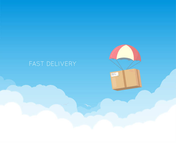 Delivery with parachute vector art illustration