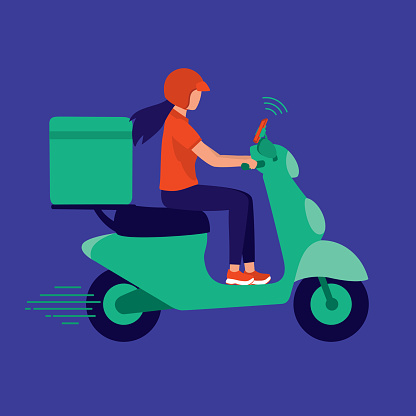 Delivery Woman Riding Scooter With Mobile Phone Attached To Motorcycle. Logistic Service Occupation Concept. Vector Illustration Flat Cartoon.