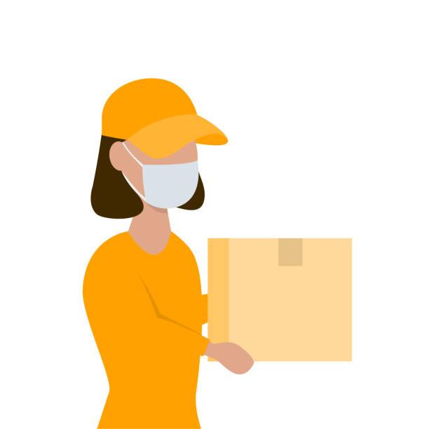 送貨婦女手裡拿著一個包,戴著面罩向量藝術插圖