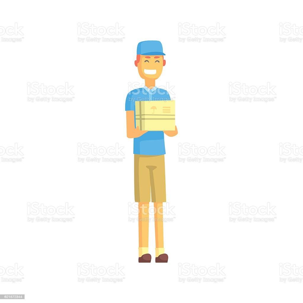 Delivery Worker In Blue T-shirt Holding Small Package delivery worker in blue tshirt holding small package – cliparts vectoriels et plus d'images de adulte libre de droits