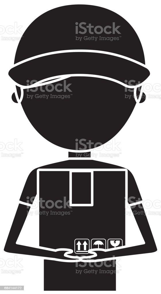 leverans arbetare med box avatar karaktär royaltyfri leverans arbetare med box avatar karaktär-vektorgrafik och fler bilder på akademikeryrke