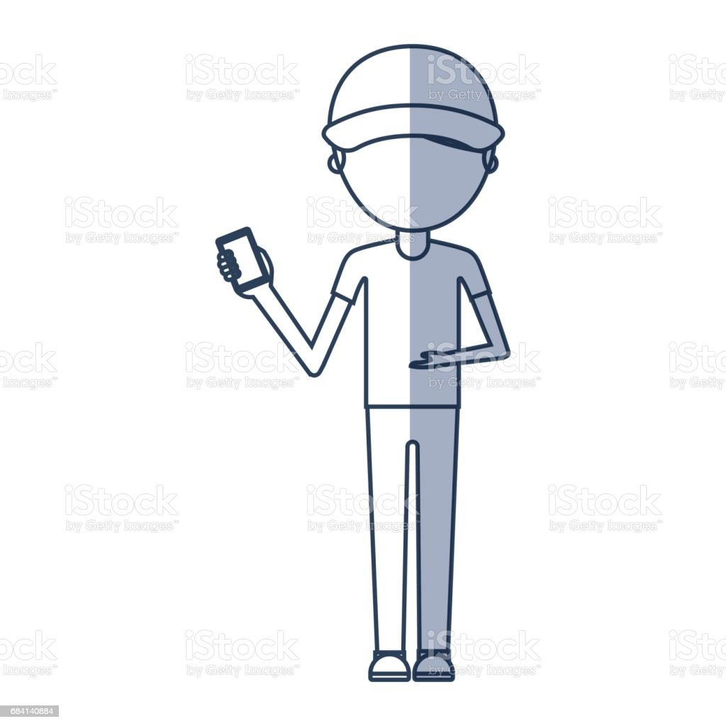 delivery worker with cellphone avatar character royalty-free delivery worker with cellphone avatar character stock vector art & more images of adult