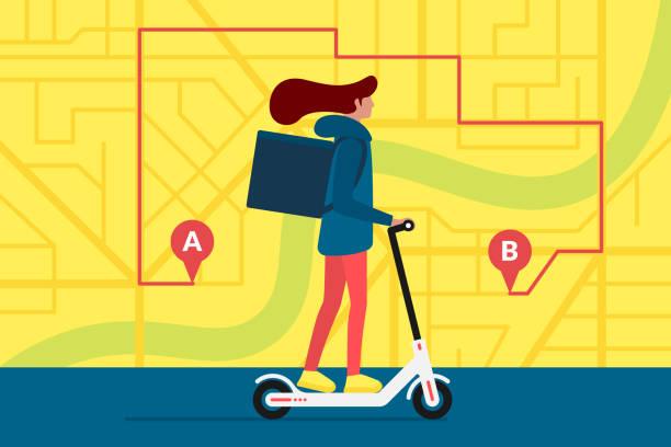 stockillustraties, clipart, cartoons en iconen met levering jonge vrouwelijke koerier rijden elektrische scooter met pakket product box. fast shipping service concept op city street kaart plan met gps pinnen en navigatieroute. vector illustratie - step