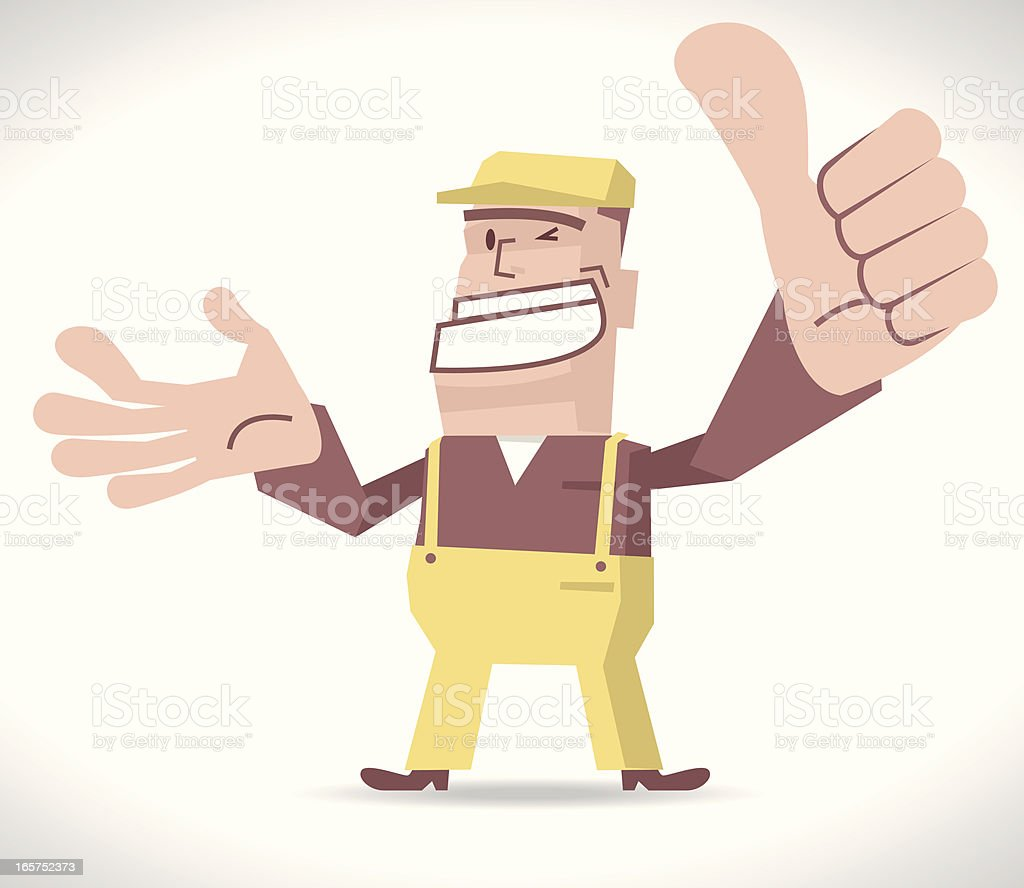 Deliveryman Gesturing Thumbs Up royalty-free stock vector art