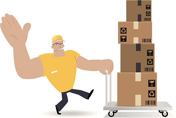 Deliveryman Moving Pappkarton mit Hand Truck – Vektorgrafik