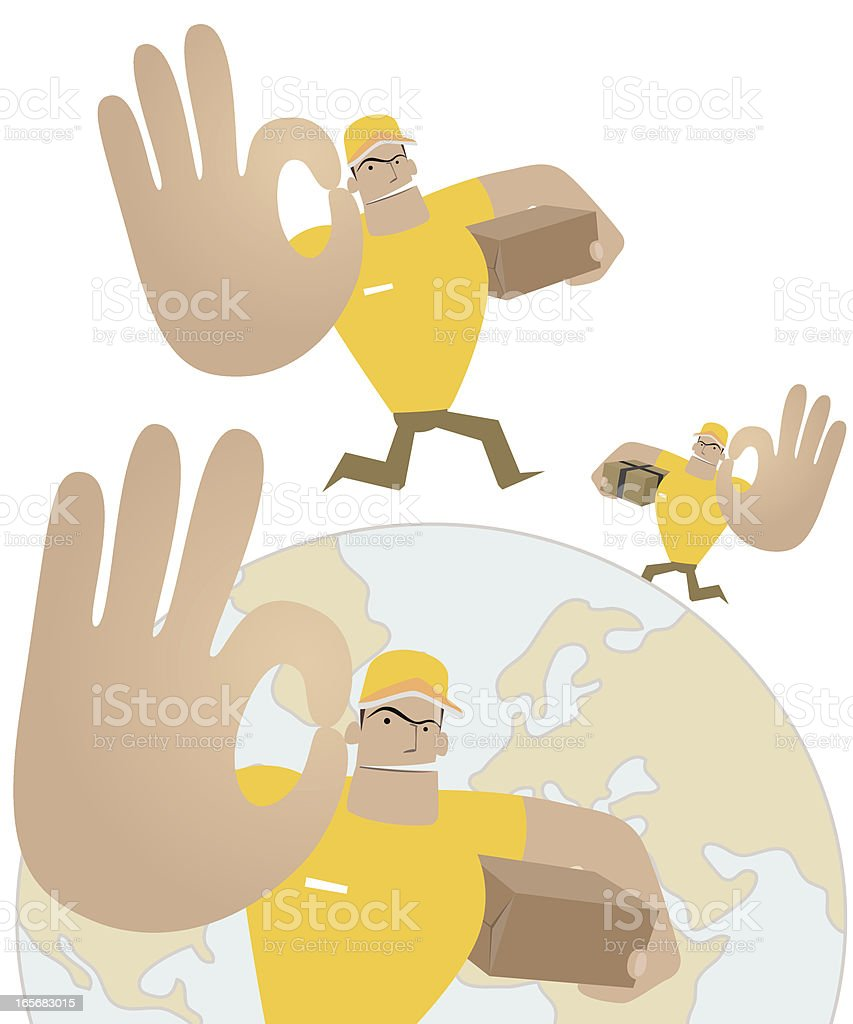 Deliveryman running around the world and showing OK royalty-free deliveryman running around the world and showing ok stock vector art & more images of a helping hand