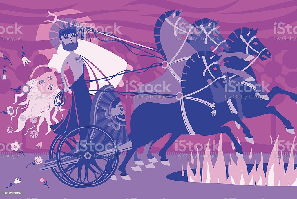 Demeter, Persephone, Hades: Kidnapped royalty-free stock vector art
