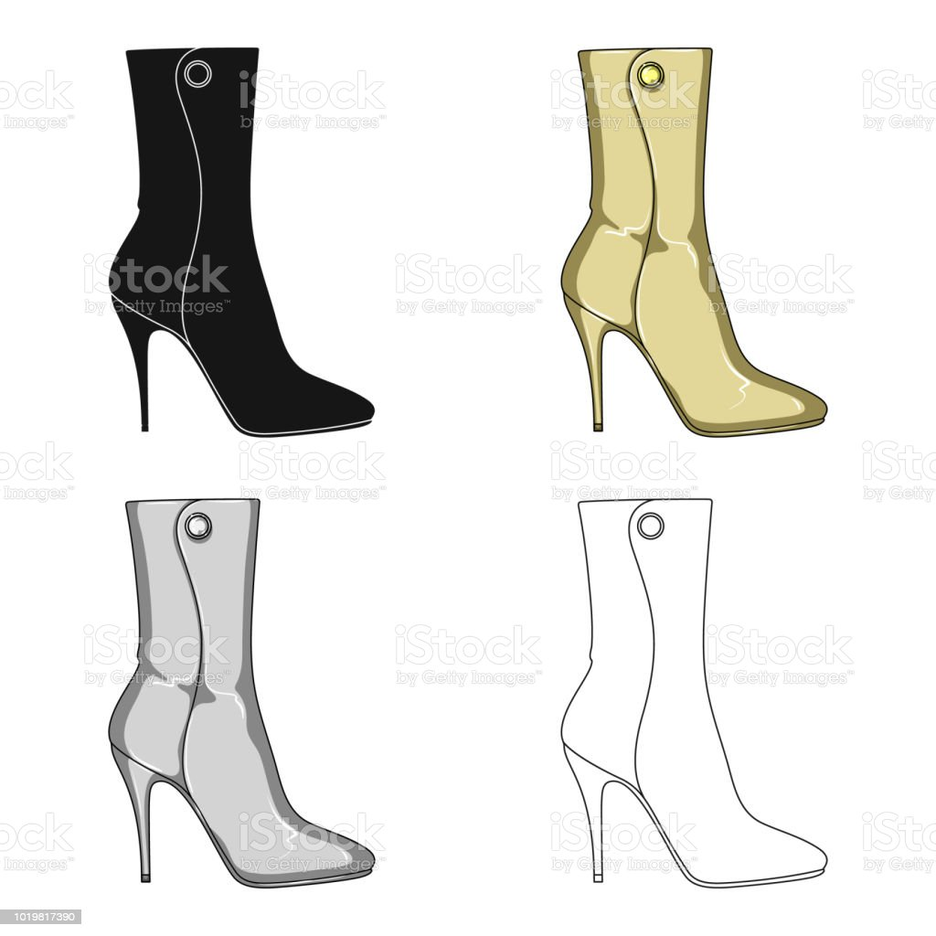 806bae4a Demi mujer alta botas de tacón. Zapatos diferentes solo icono en la web de  dibujos