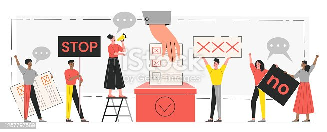 Democracy and freedom concept. Tiny people voting at polling stations. Freedom of speech, justice voting and opinion. Symbolic referendum and poll choice event. Flat vector illustration