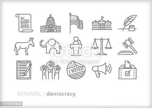 Set of 15 democracy line icons representing political themes in the United States including the constitution, flag, republicans, democrats, voting, justice branch, legislative branch, executive branch, and freedom of speech