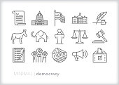 Democracy and political freedom line icon set