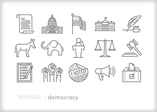 Democracy and political freedom line icon set Set of 15 democracy line icons representing political themes in the United States including the constitution, flag, republicans, democrats, voting, justice branch, legislative branch, executive branch, and freedom of speech white house stock illustrations