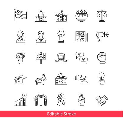 Democracy and political freedom line icon set.Editable Stroke