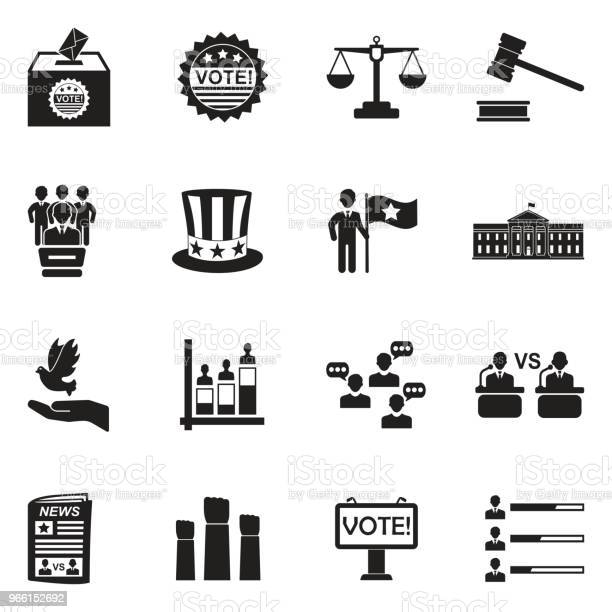 Demokratie Und Politik Symbole Schwarze Flache Bauweise Vektorillustration Stock Vektor Art und mehr Bilder von Autorität