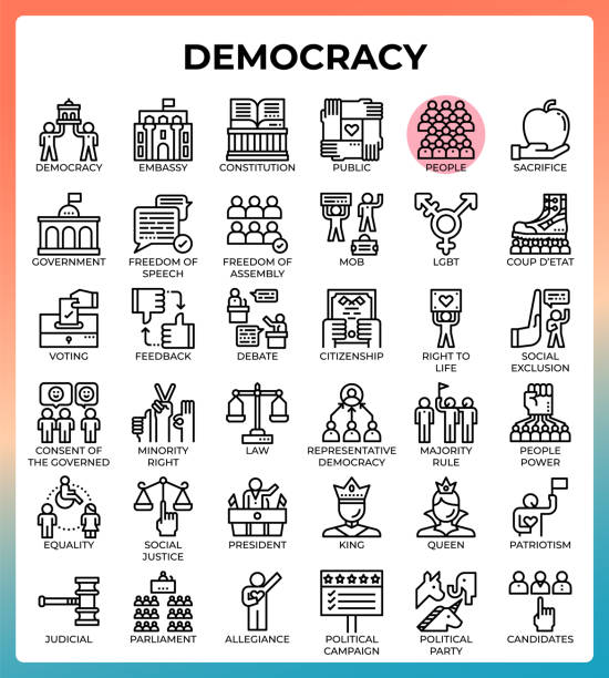Democracy concept icons vector art illustration
