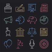 Modern democracy and the public service neon style concept outline symbols. Line vector icon sets for infographics and web designs.