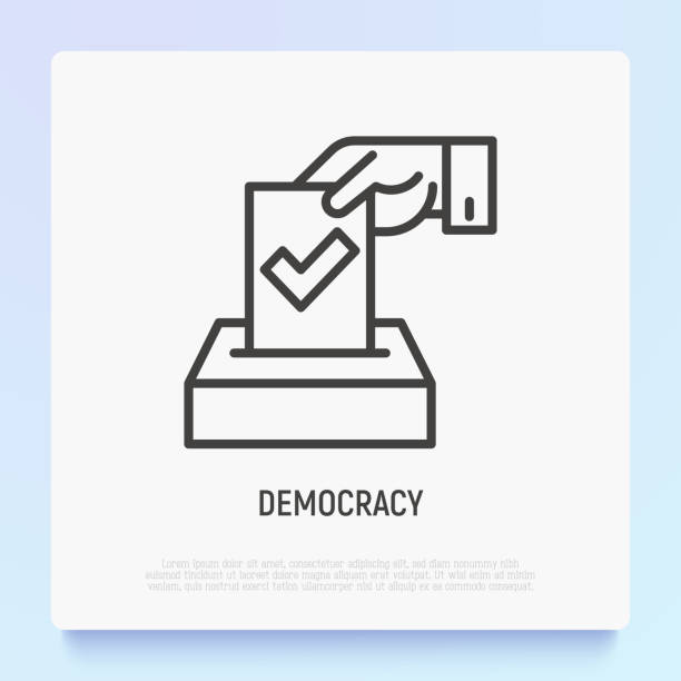 democracy thin line icon: hand puts ballot with tick in box. modern vector illustration of election. - ballot stock illustrations