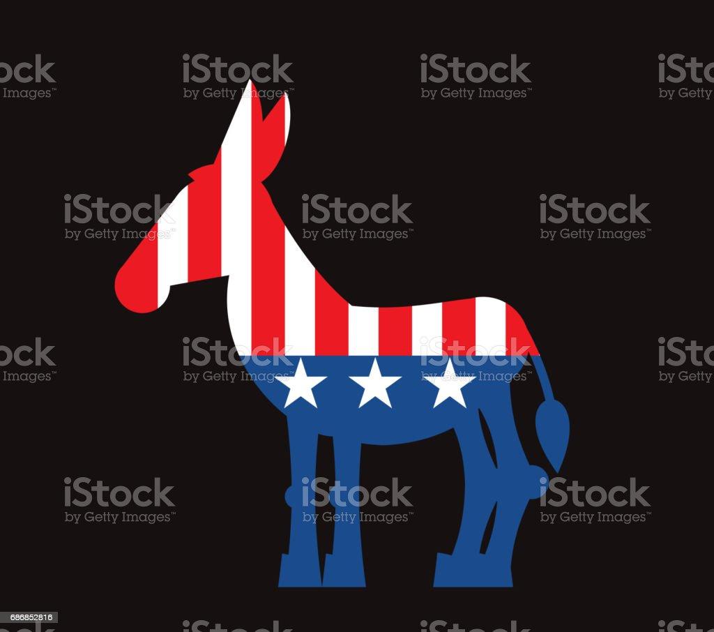 Democrat Donkey and US flag. Political Party America - illustrazione arte vettoriale