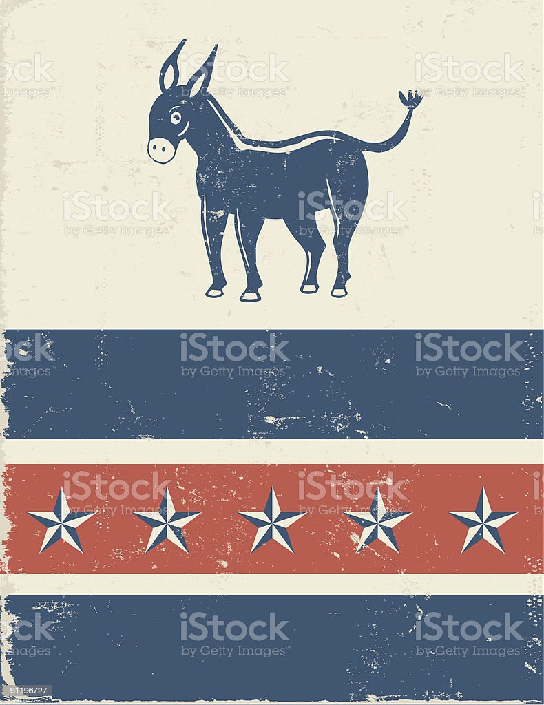Democrat donkey mascot motif vector art illustration