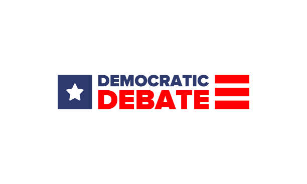 Democratic Debate. Presidential Primary in United States. Political concept. United States flag. Patriotic american elements. 2020 election. Voting campaign. Poster, card, banner and background. Vector Democratic Debate. Presidential Primary in United States. Political concept. United States flag. Patriotic american elements. 2020 election. Voting campaign. Poster, card, banner and background. Vector presidential candidate stock illustrations