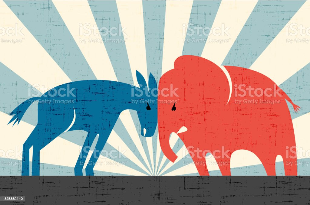 Democratic donkey and Republican elephant butting heads. Vector illustration. vector art illustration