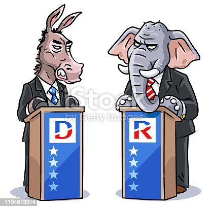 Vector illustration of a democratic donkey and a republican elephant wearing a suit, debating at a lectern. They are angrily looking at each other. Concept for US politics, elections, presidential elections, political rallies political parties, rivalry, conflicts and debates.