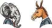 Democratic Donkey and Republican Elephant Heads