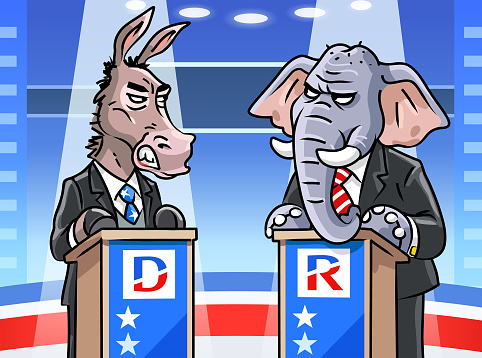 Democratic Donkey And Republican Elephant In TV Debate
