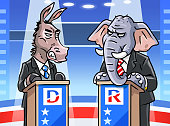 istock Democratic Donkey And Republican Elephant In TV Debate 1195994877