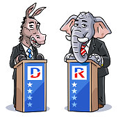 Vector illustration of a democratic donkey and a republican elephant wearing a suit, standing at a lectern, debating or giving a speech. Concept for US politics, elections, presidential elections, political rallies, political parties, rivalry, conflict, speeches and debates.