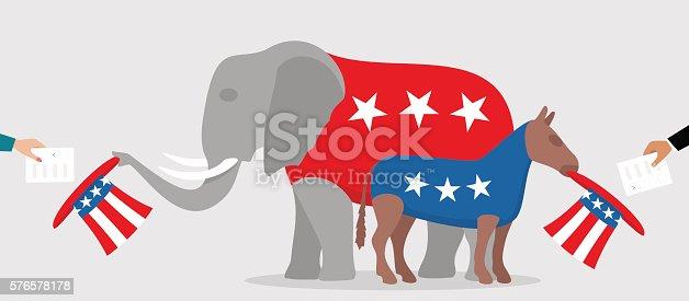 democratic donkey and republican elephant stock vector art more